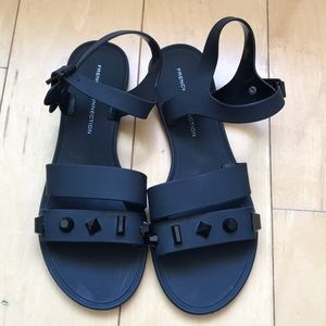 French connection black sandals w embellishments